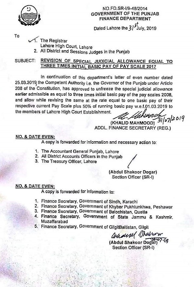 REVISION OF SPECIAL JUDICIAL ALLOWANCE