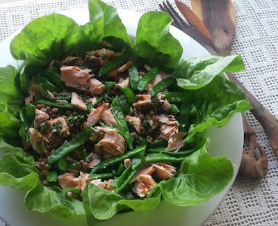 Salmon, Snow Pea & Lentil Salad
