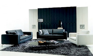Sala con sofá cclor negro