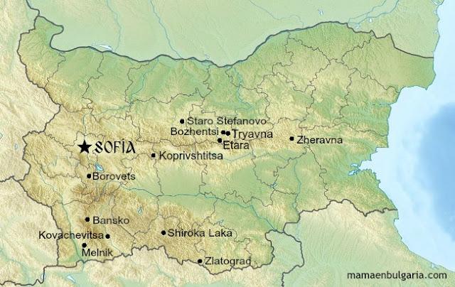 Pueblos de Bulgaria mapa