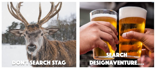 A picture of a stag and a beers being clinked on a stag do