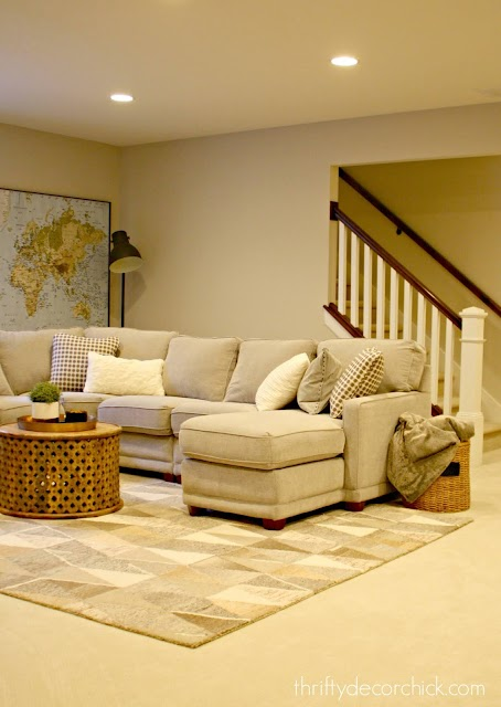 Analytical gray family room walls