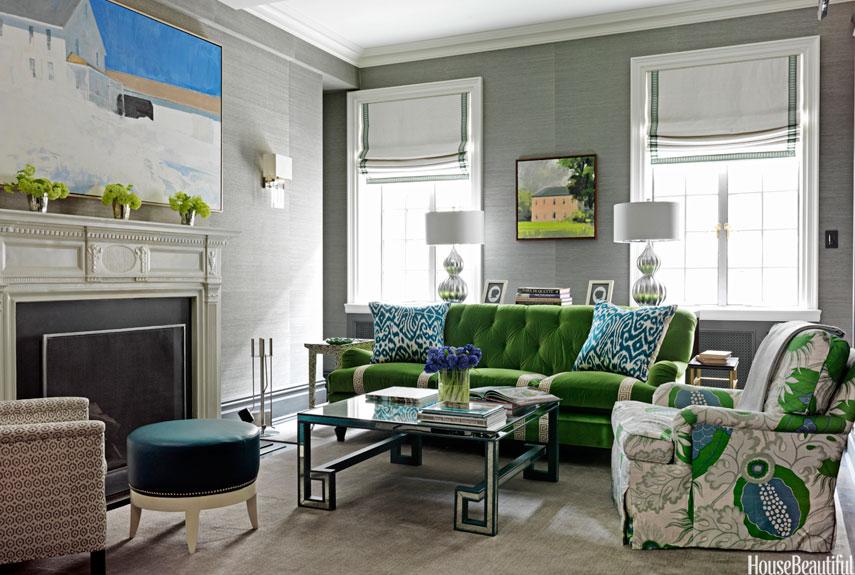 Green Velvet Sofa Living Room Ideas: The Velveteen Habit.........