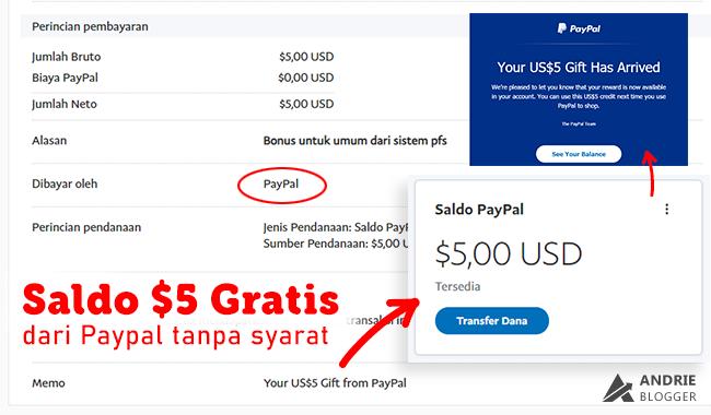Saldo 5 Dolar Gratis dari Paypal Tanpa Syarat