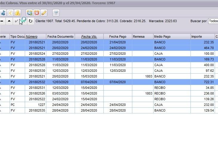 Listado de vencimientos de un cliente en el software de facturación