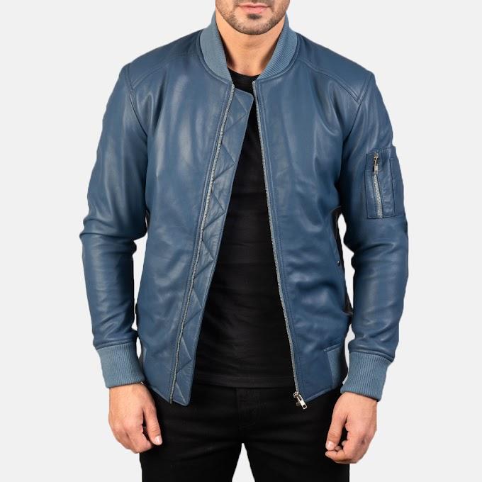 Bomia Ma-1 Blue Leather Bomber Jacket