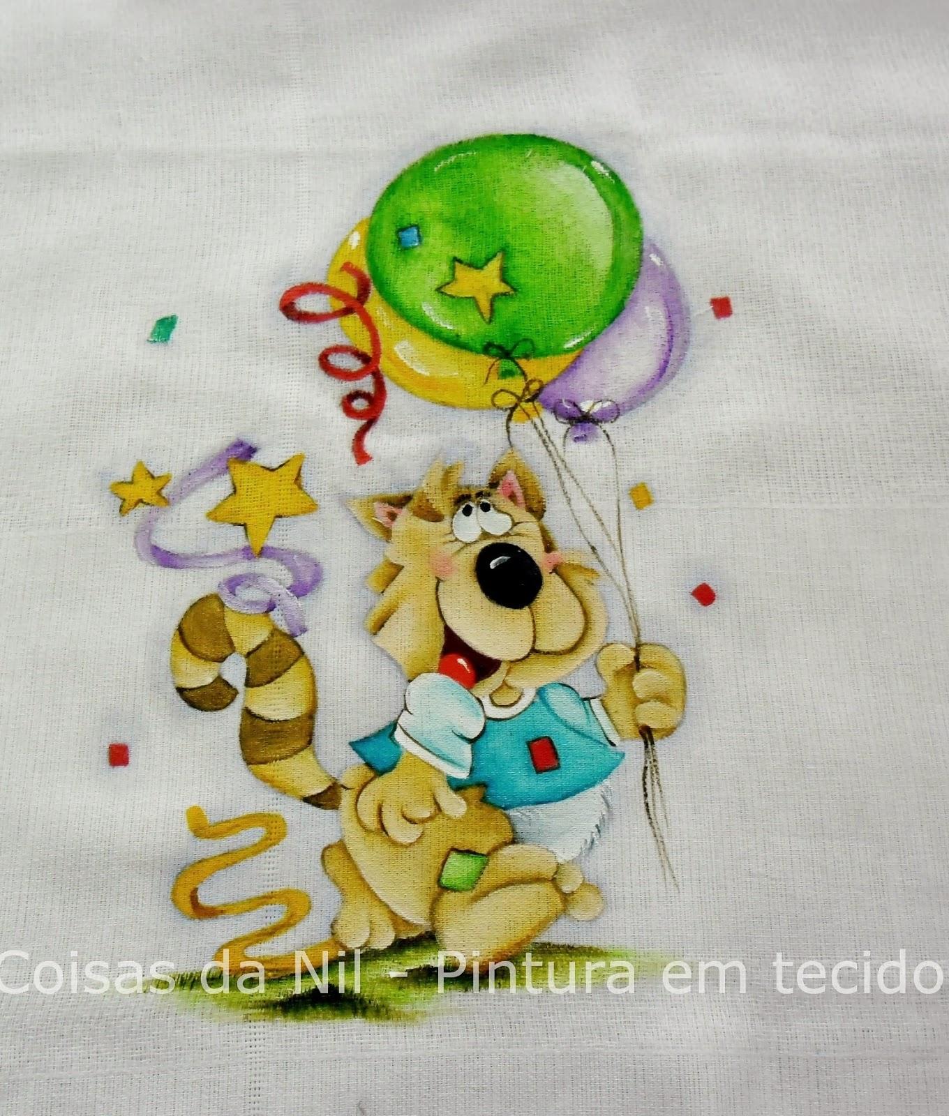 fralda pintada com lobinho com tema de festa de carnaval