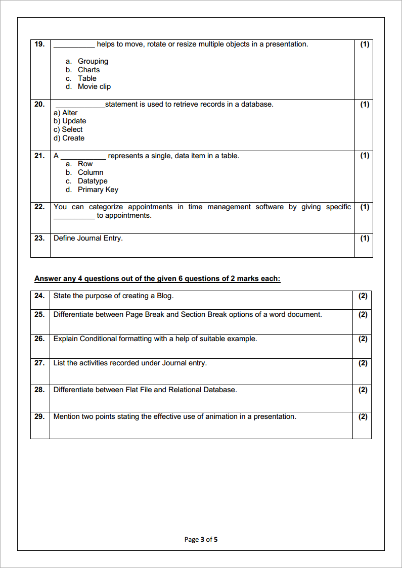 CBSE Class 10th Information Technology (IT) Code 402 Sample Paper Of 2020