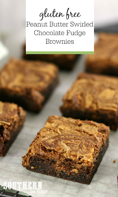 Gluten Free Peanut Butter Swirled Chocolate Fudge Brownies Recipe - gluten free, easy, fudgy brownies, ultimate brownie recipe