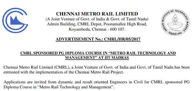 Chennai Metro Rail Engineer Recruitment 2017 – 2018