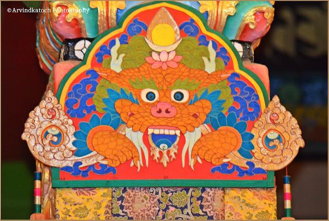 Tibetan, Dragon, art, Bhattu Monastery, Baijnath, Himachal Pradesh,