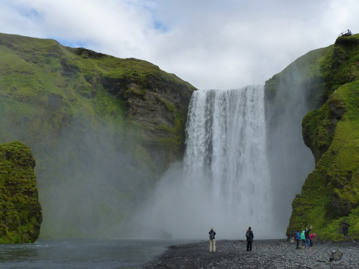 Island Skógafoss Wasserfall Reiseglück