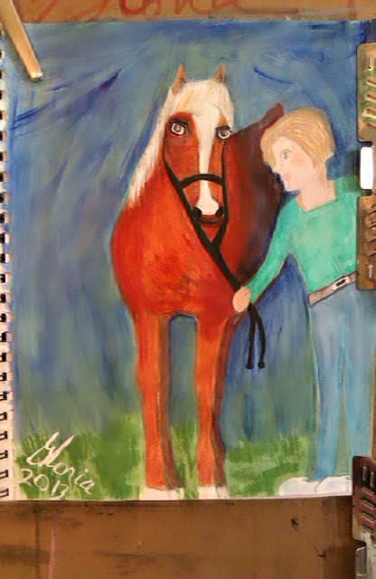"""Who left barn open? "" sketch by Gloria Poole of Missouri; yr 2013"