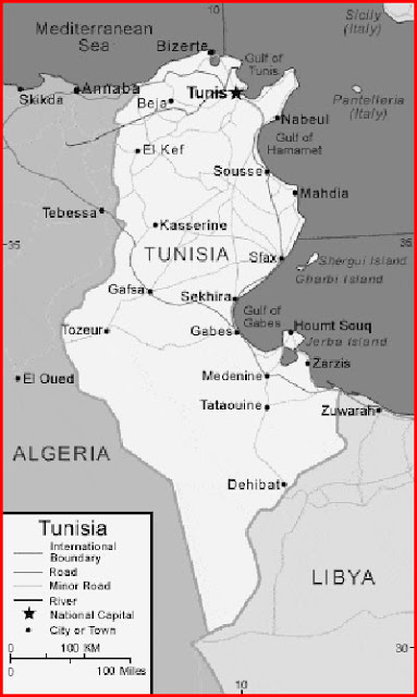 image: Black and white Tunisia map