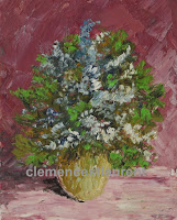 Mimosas, 5 x 4 oil painting of blue and white flowers by Clemence St. Laurent