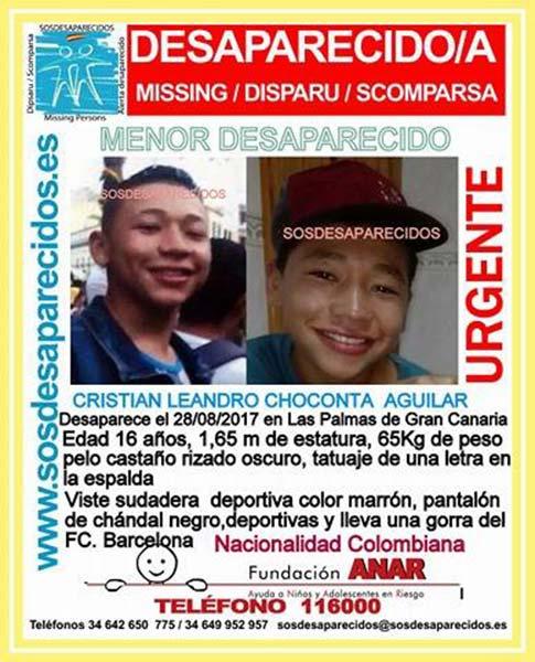 El menor Cristian Leandro se encuentra desaparecido en Las Palmas de Gran Canaria