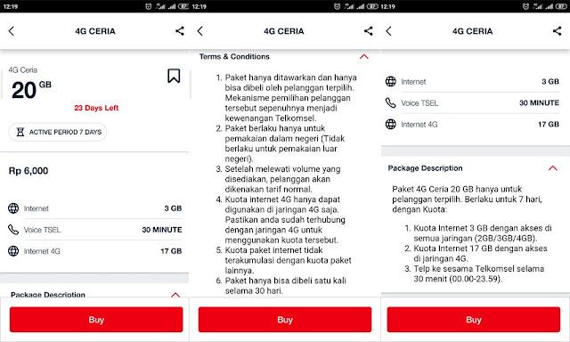 Keterangan Paket Internet 4G Ceria Telkomsel 20GB 6Rb