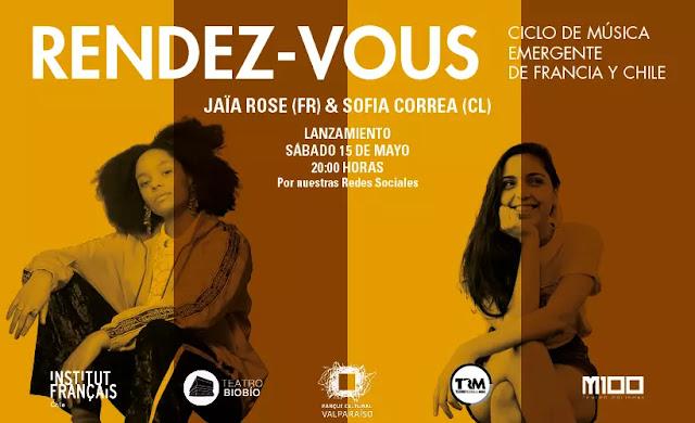 Sofía Correa junto la cantante francesa Jaïa Rose en ciclo Rendez - Vous