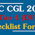 Check List for SSC CGL 2017 Tier 4 Document Verification