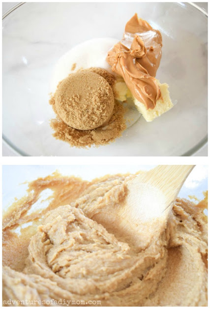 cream butter, peanut butter and brown sugar