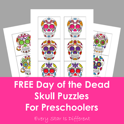 FREE Day of the Dead Skull Puzzles for Preschoolers