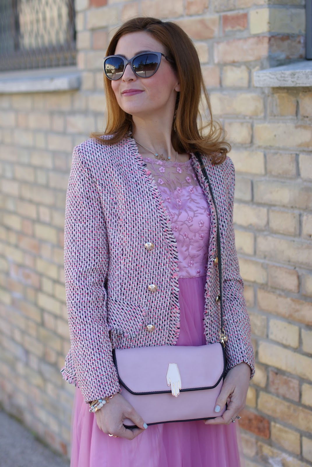 Chanel inspired jacket and Lazzari for a romantic outfit on Fashion and Cookies fashion blog, fashion blogger style