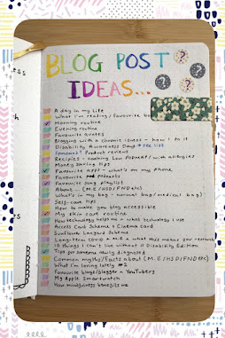 patterned border around a photograph of a bullet journal page headed with the title blog post ideas with below a list of hand written notes