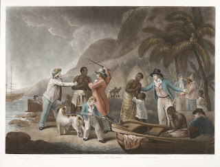 An engraving print depicting Black slaves being taken by white slave traders, including a family being split up.