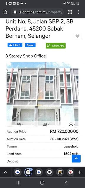 Lot Kedai 3 Tingkat Untuk Dilelong RM720K di Sabak Bernam, Selangor