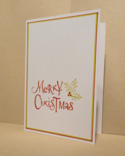 CAS Christmas card, Merry Christmas with holly, in lime and red, portrait