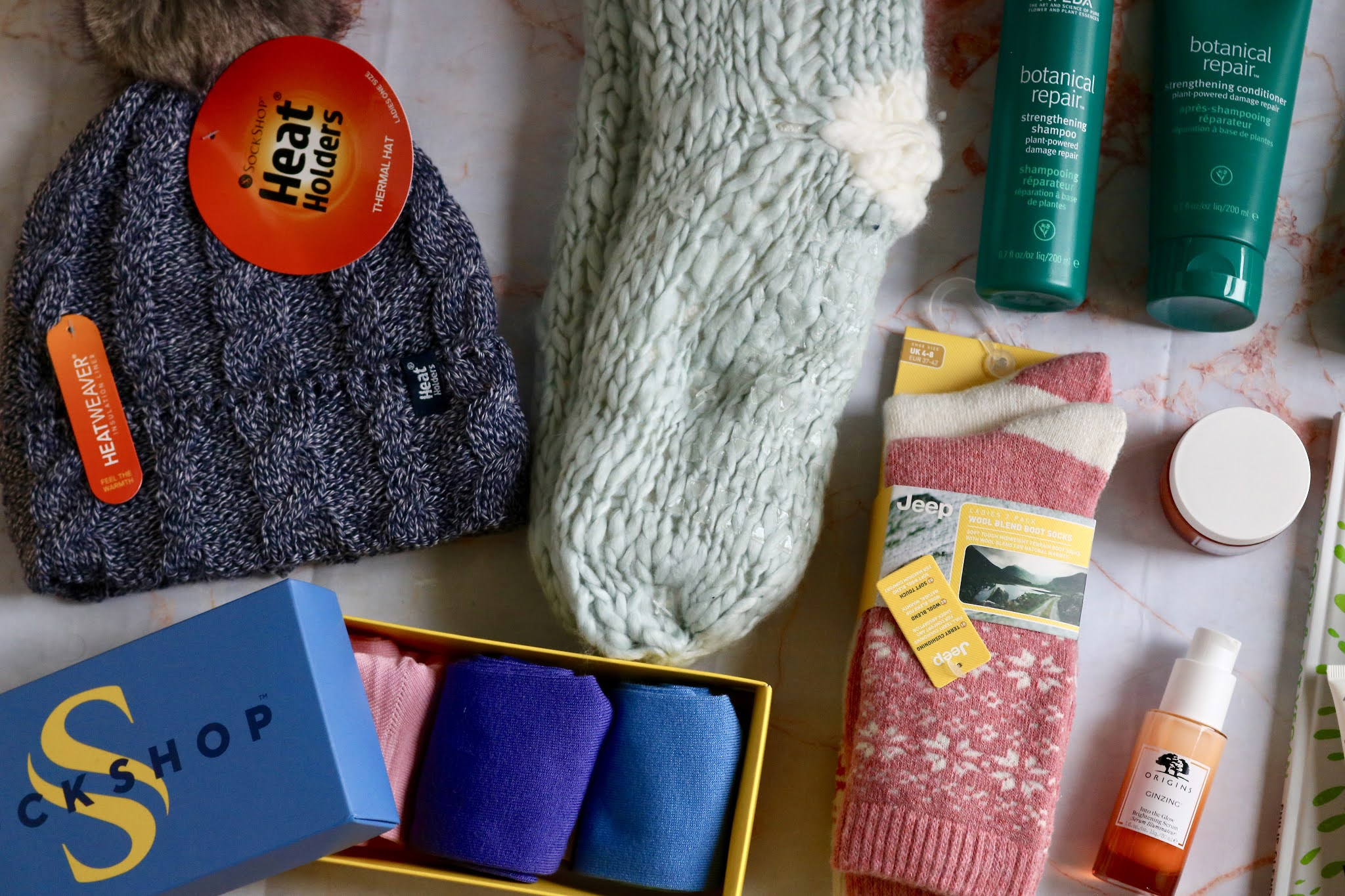Sockshop Heat Holders Hat £11.99, Bamboo Socks Gift Set £9.99, Jeep Wool Blend Boot Socks £11.99 and Elle Hand-Knitted Slipper Socks £14.99