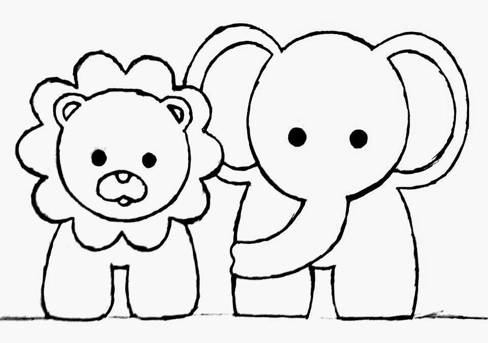 desenho de leão e elefante para pintar em fraldas