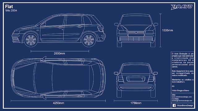 Imagem do blueprint do Fiat Stilo 2004