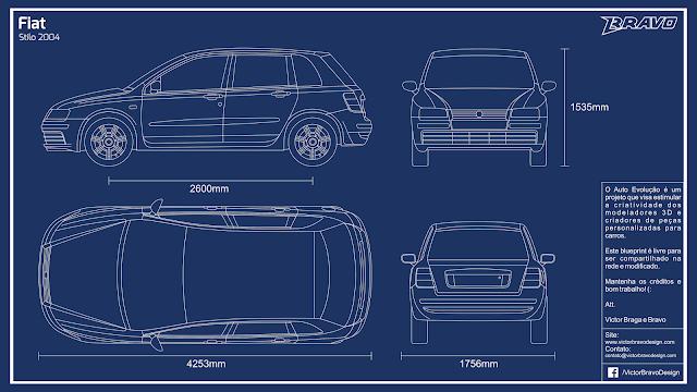 Imagem do blueprint do Fiat Stilo 2004