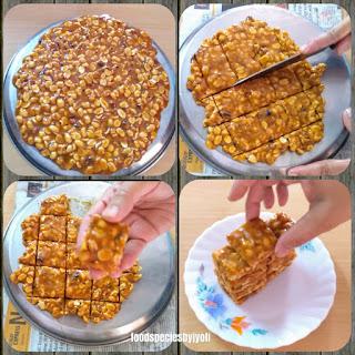Peanuts chikki recipe, Peanuts jaggery bar, Homemade chikki