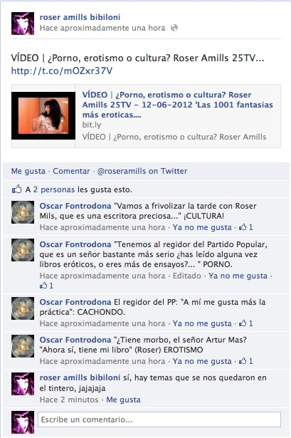 VÍDEO   ¿Porno, erotismo o cultura? Roser Amills 25TV - 12-06-2012 'Las 1001 fantasias más eroticas...'