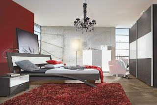 Habitación blanco rojo negro