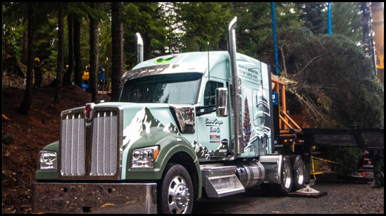 Kenworth W990 hauling the U.S. Capitol Christmas Tree
