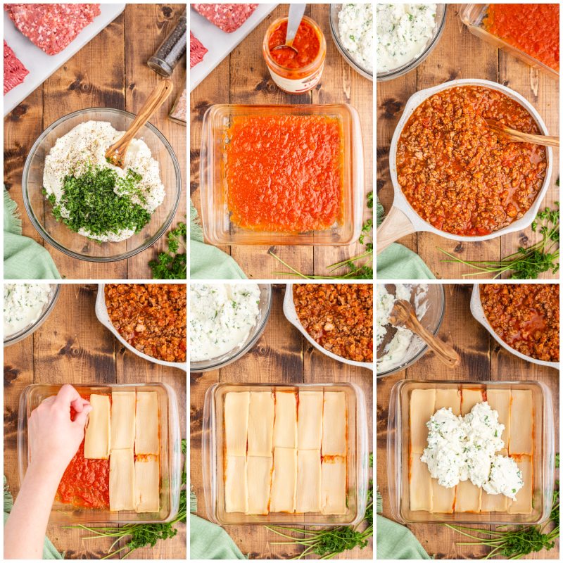 SIx photos of the process of making keto lasagna.