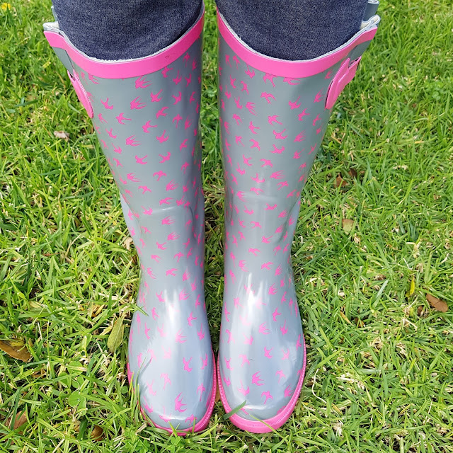 Rivers gumboots with pink bird print | Almost Posh