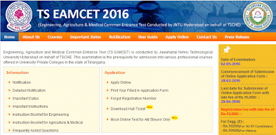 TS Telangana EAMCET 2016 Exam Date 15.05.2016 New Exam Date Rescheduled Date Postponed Date revised Date Telangana/ TS Eamcet 2016 & TS TET 2016 New Hall ticket Download  : New Exam Dates Announcement After Postponement on May 2nd. Engineering, Agriculture and Medical Common Entrance Test (TS EAMCET) is conducted by Jawaharlal Nehru Technological University Hyderabad on behalf of TSCHE. This examination is the prerequisite for admission into various professional courses offered in University/ Private Colleges in the state of Telangana.