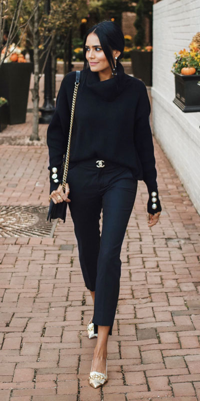 24 Cute Fall Outfits You Should Already Own. Clinch the waist with chunky belts and slip into shimmery satin and silk outfits, because these cute fall clothing are a staple this season. Fall Fashion via higiggle.com | black sweater | #fall #falloutfits #fashion #sweater
