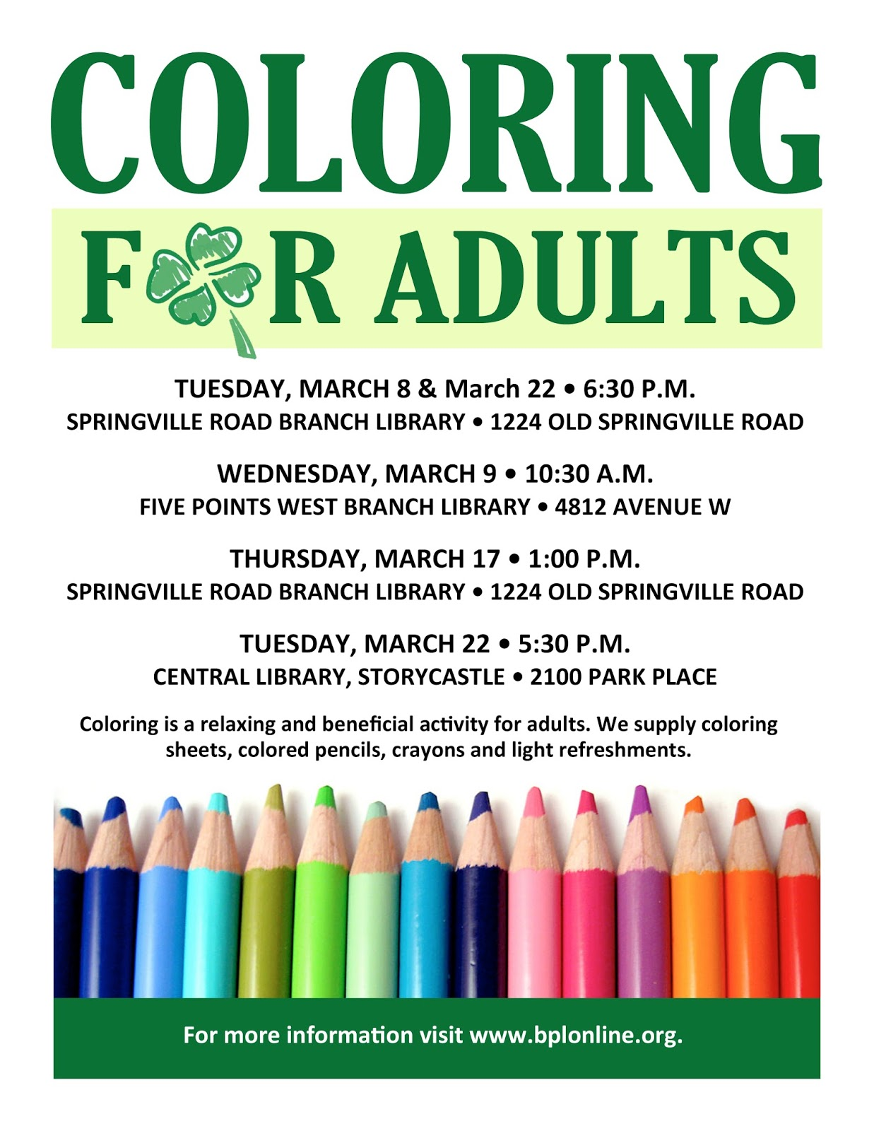 coloring for adults flyer