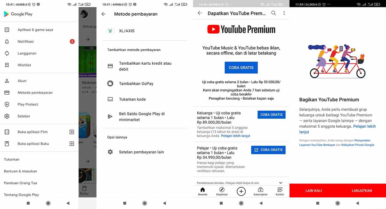 cara langganan youtube premium gratis