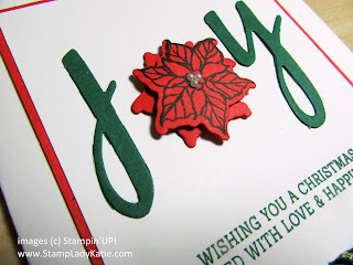 "Christmas card with the word ""joy"" spelled out using Stampin'Up's Hand-Lettered Prose dies"