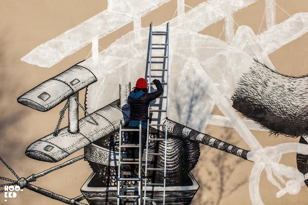 Walthamstow Street Art mural by British artist Phlegm. Photo ©Hookedblog / Mark Rigney