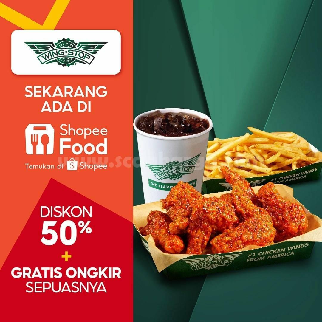 WINGSTOP Promo DISKON 50% + GRATIS Ongkir via ShopeeFood