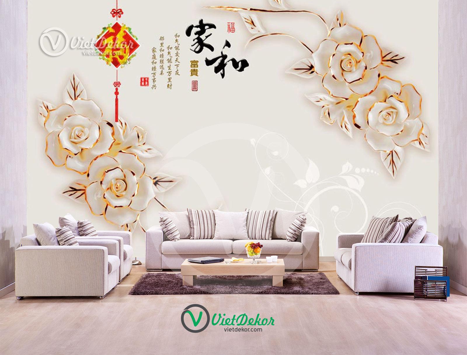 Tranh 3d dán tường hoa hồng