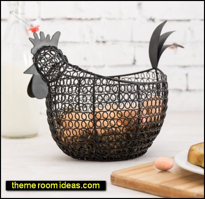 Wire Chicken Shaped Egg Storage Basket french country farmhouse