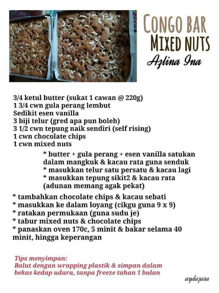 resepi congo bar mixed nuts